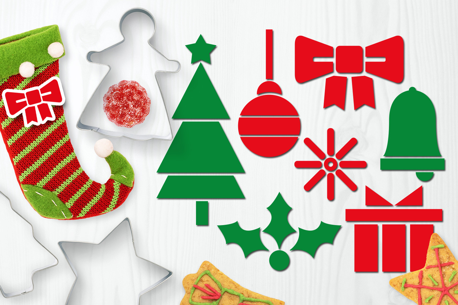 Bundle - Christmas ornaments and Gingerbread Graphics example image 9