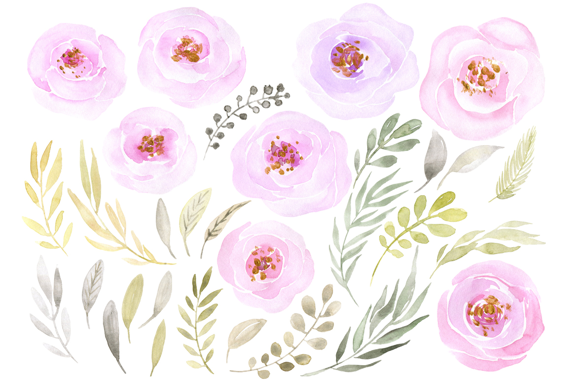 Watercolor light pink flowers example image 2