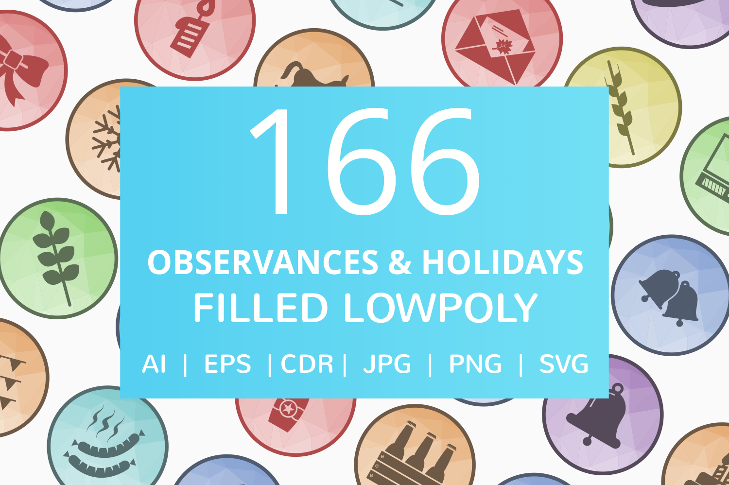 166 Observances & Holiday Filled Low Poly Icons example image 1