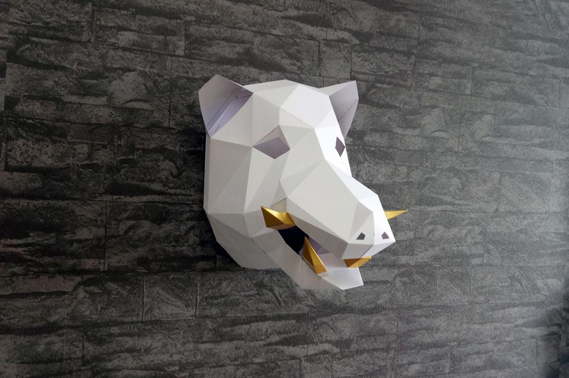 DIY Boar Trophy - 3d papercraft example image 1