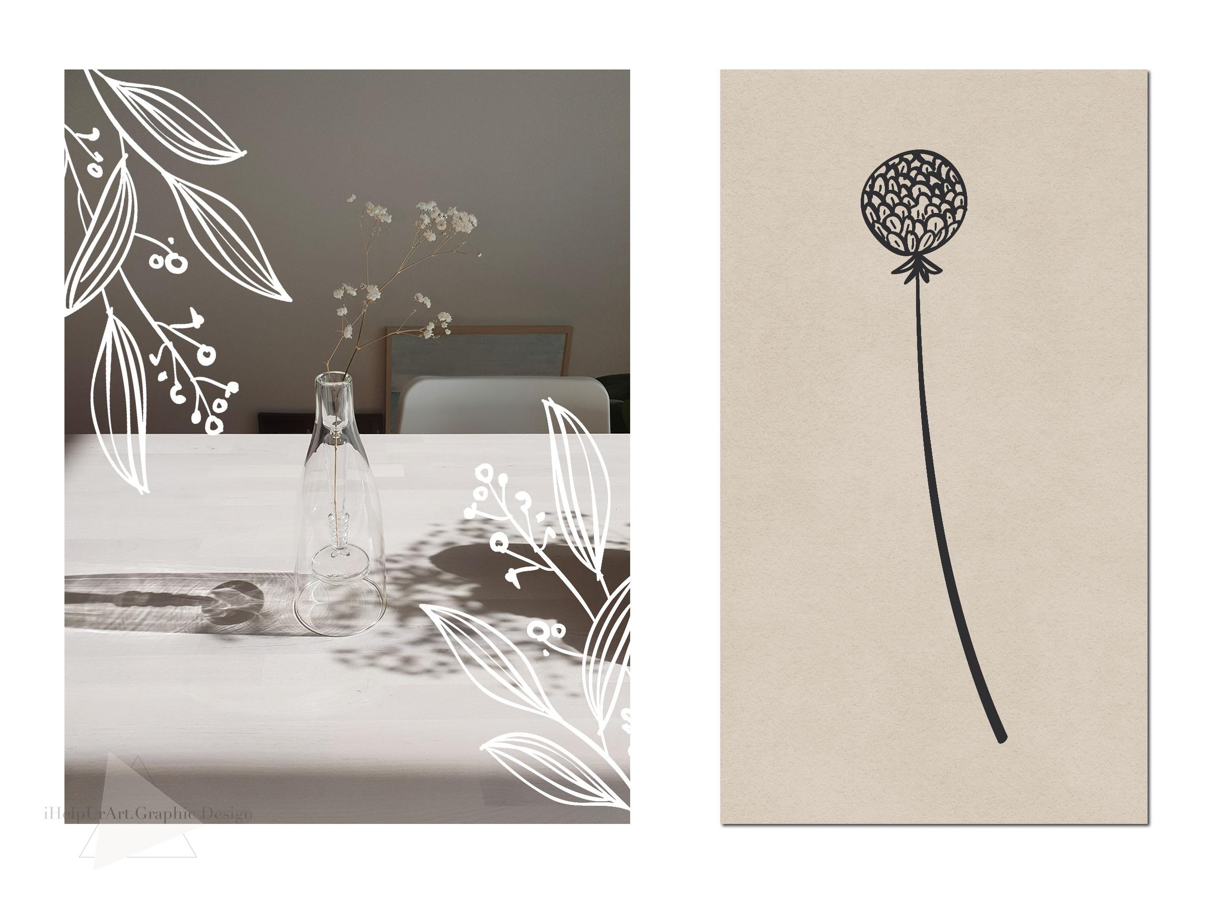 Line Art Botanical Clipart - Linear Floral Design Kit example image 3