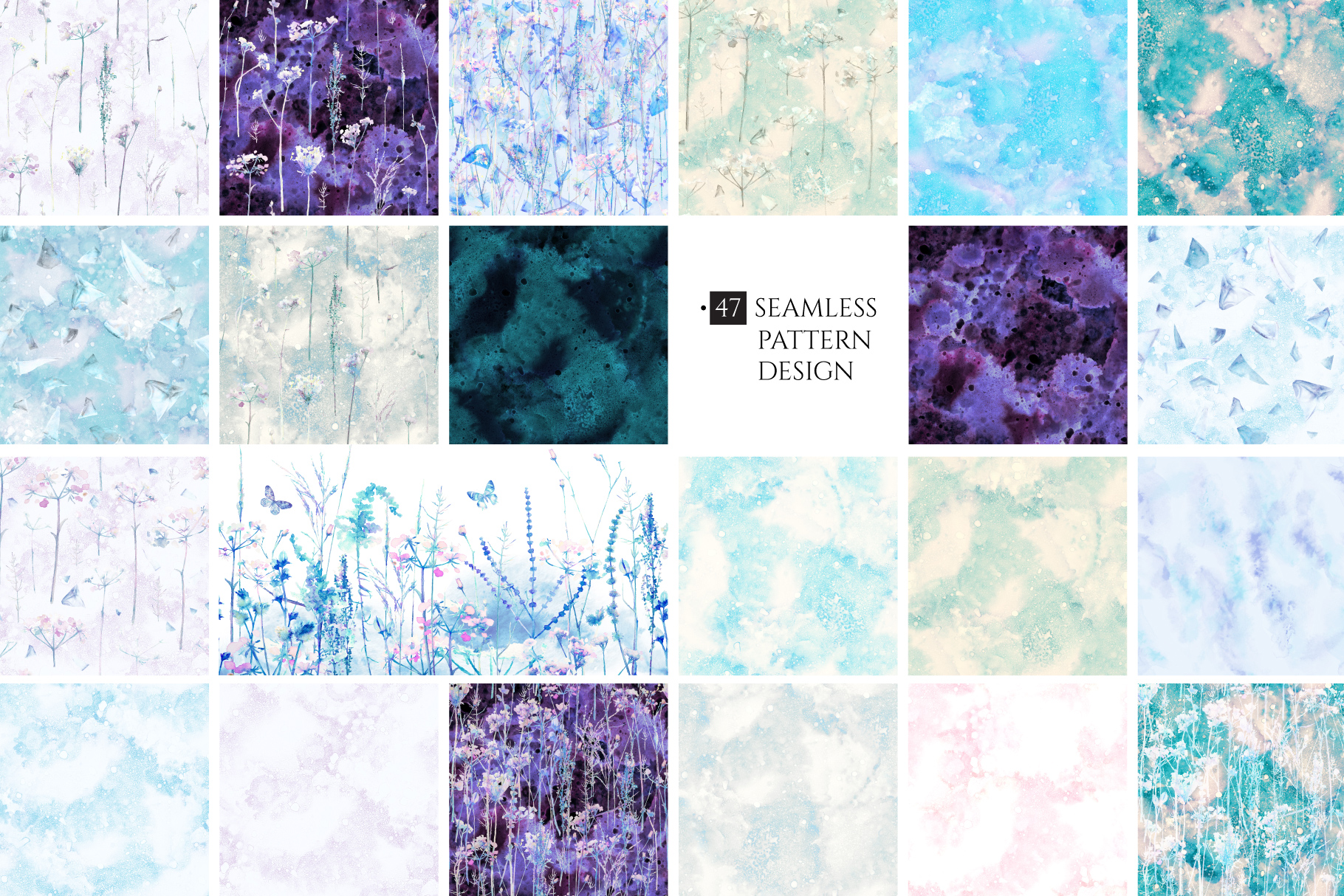 Watercolor floral design collection, herbal and ice example image 4