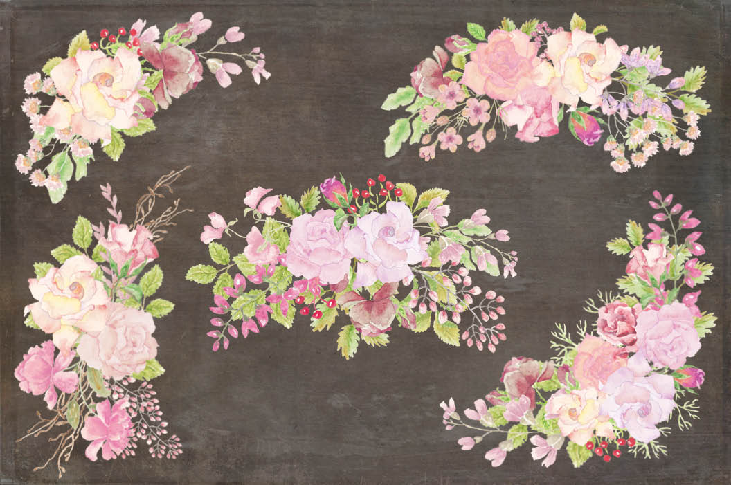 Wedding clip art bundle in blush roses example image 5