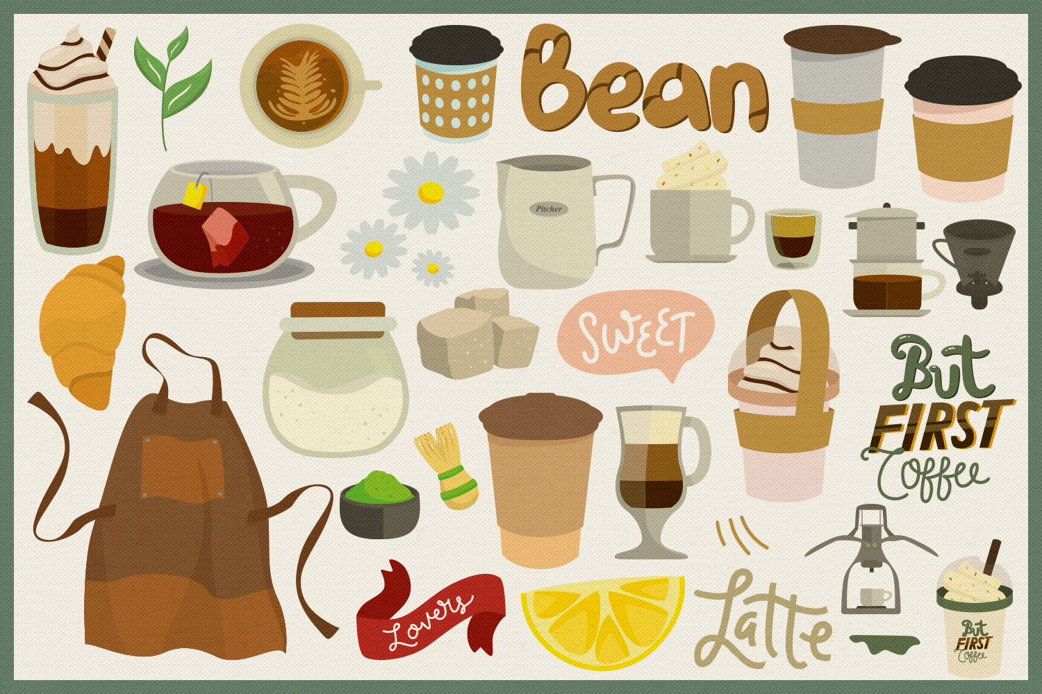 75 Coffee and Tea Vector Clipart & Seamless Patterns example image 4