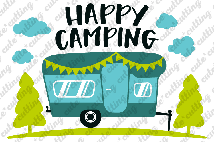 Camper, Happy camping, camping trailer svg, dxf, png, pdf example image 1