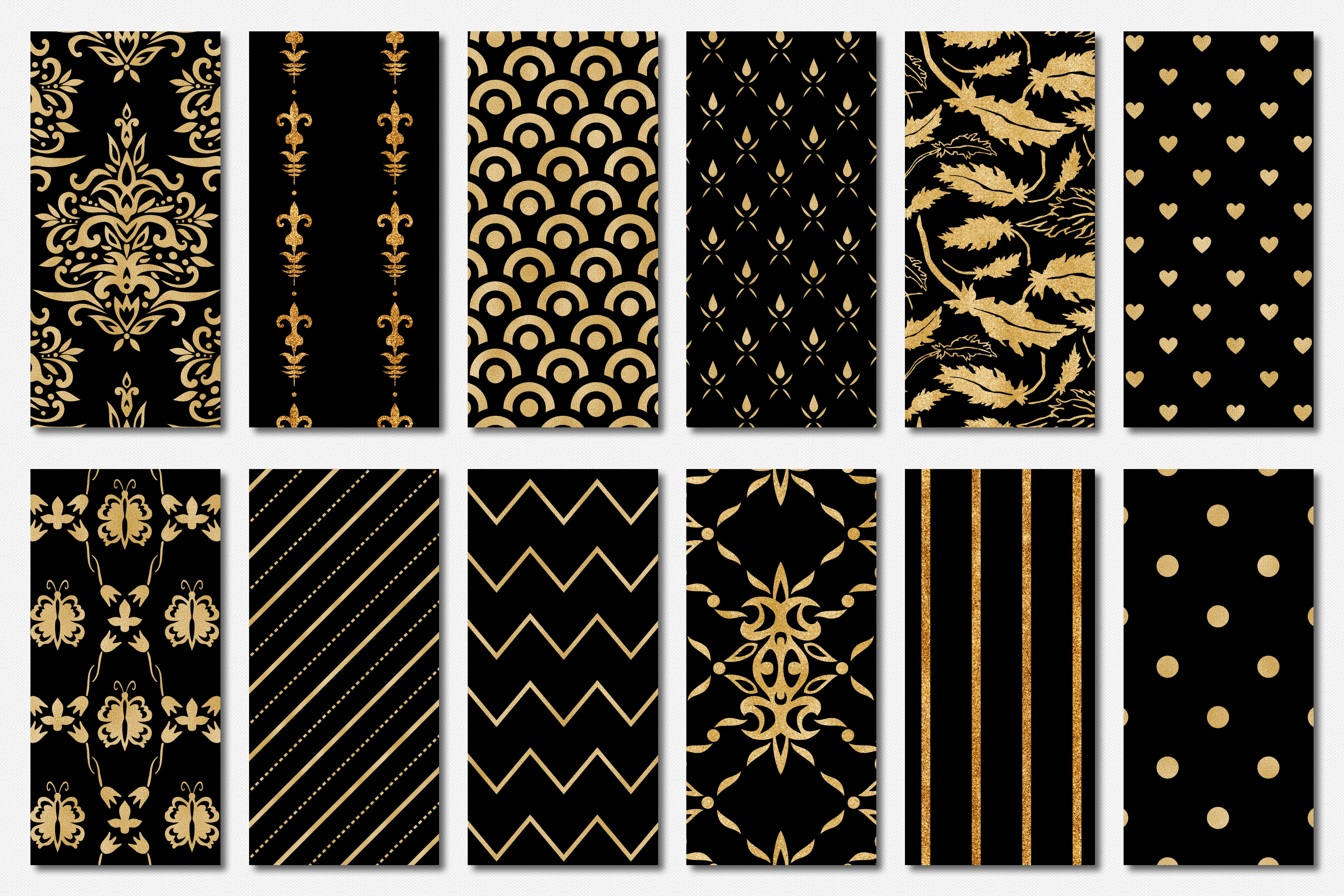 Black and Gold Seamless Papers - Damask & Geometric Patterns example image 3
