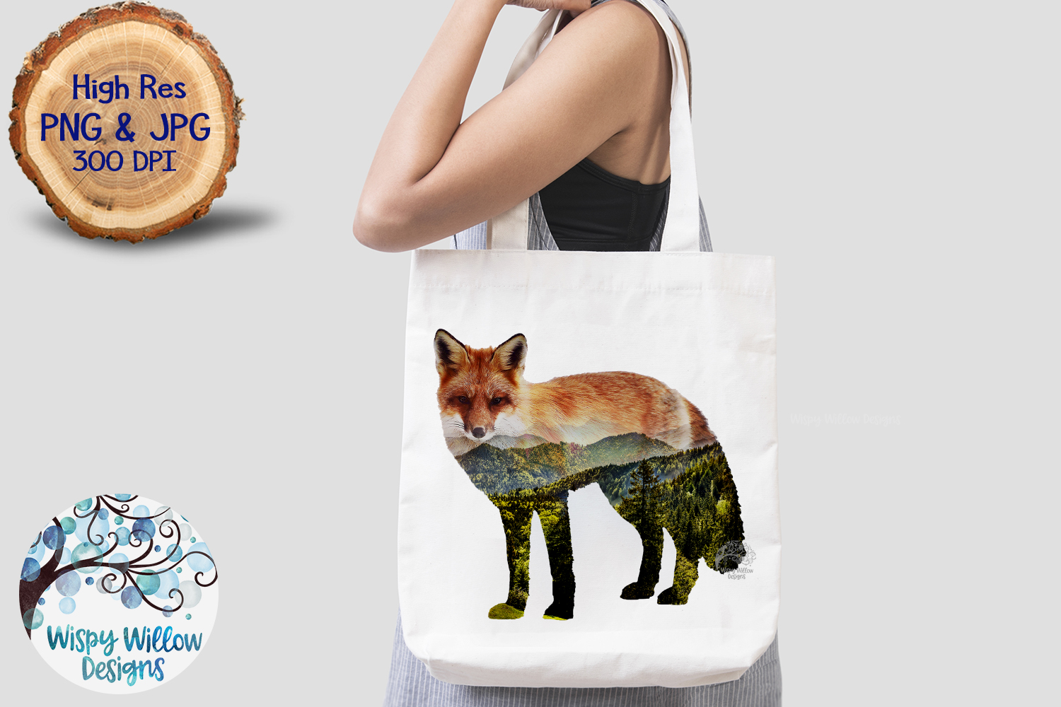 Double Exposure Mountain Fox PNG | Sublimation example image 4