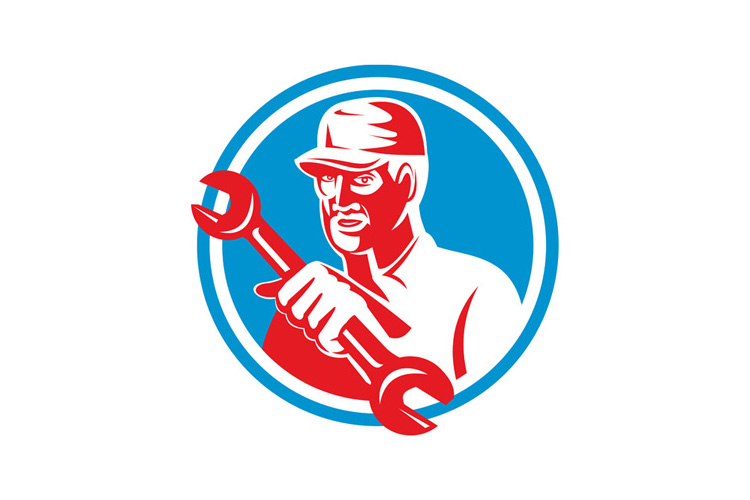 Mechanic Holding Spanner Wrench Circle Retro example image 1
