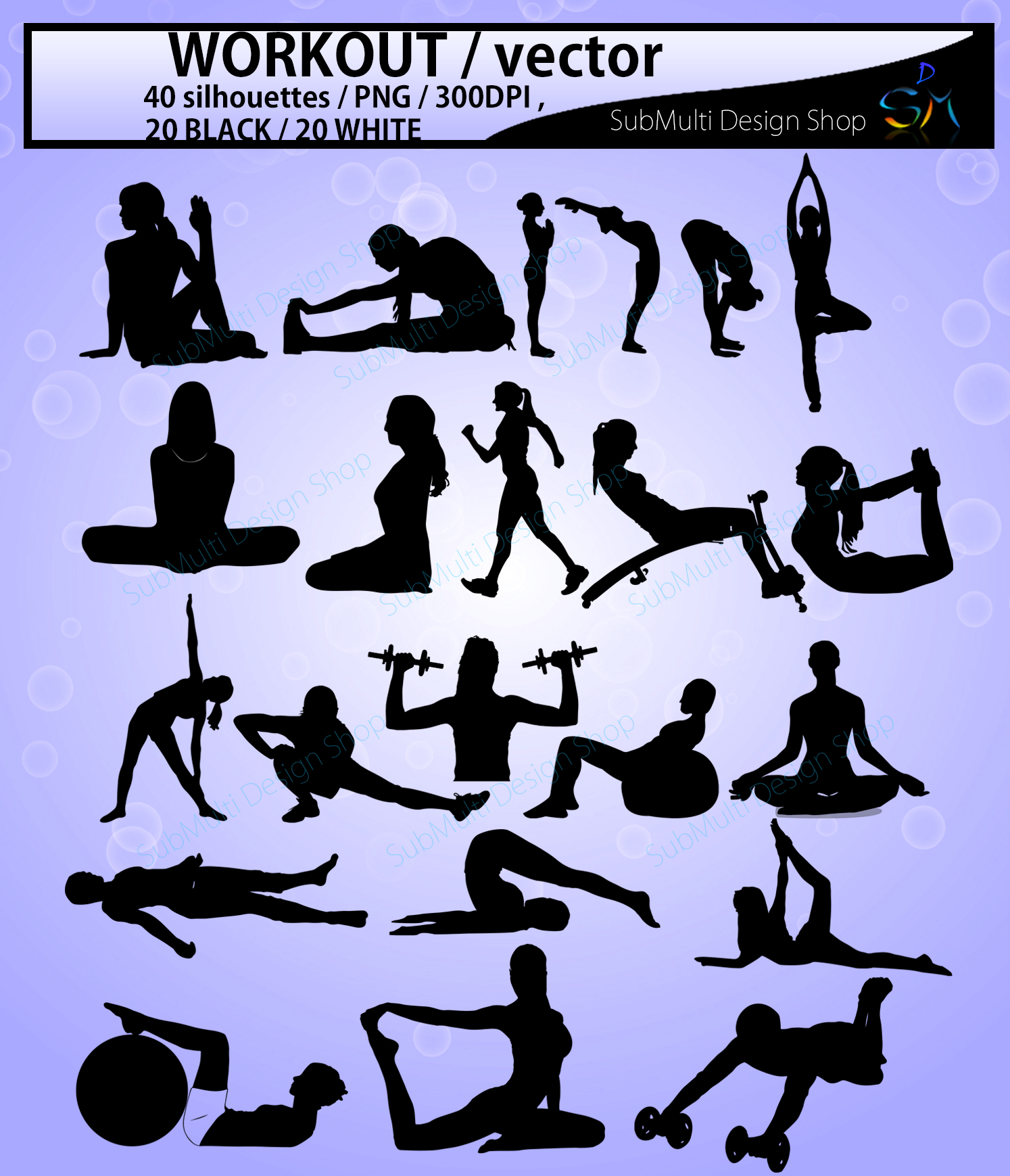 workout vector SVG / workout silhouette / workout clipart / vector workout file / exercise / yoga shapes / exercise silhouette/ EPS / PNG / Dxf example image 3