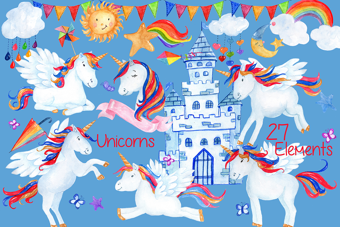 Watercolor Unicorn clipart example image 1