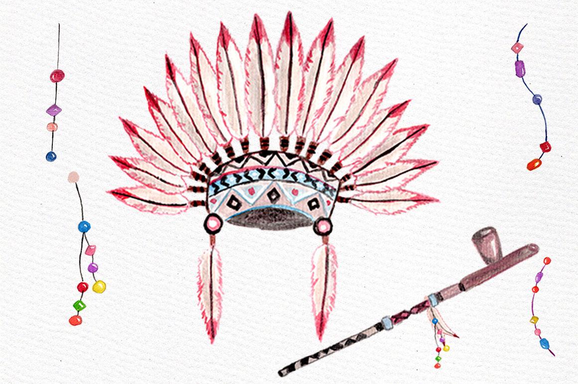 Watercolor Tribal clip art set example image 4