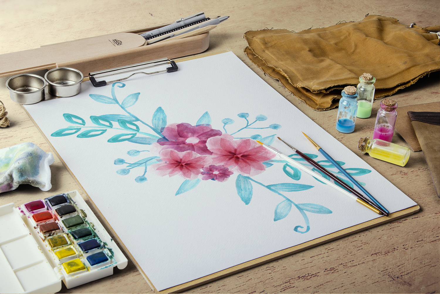 Watercolor Flower Pack example image 4