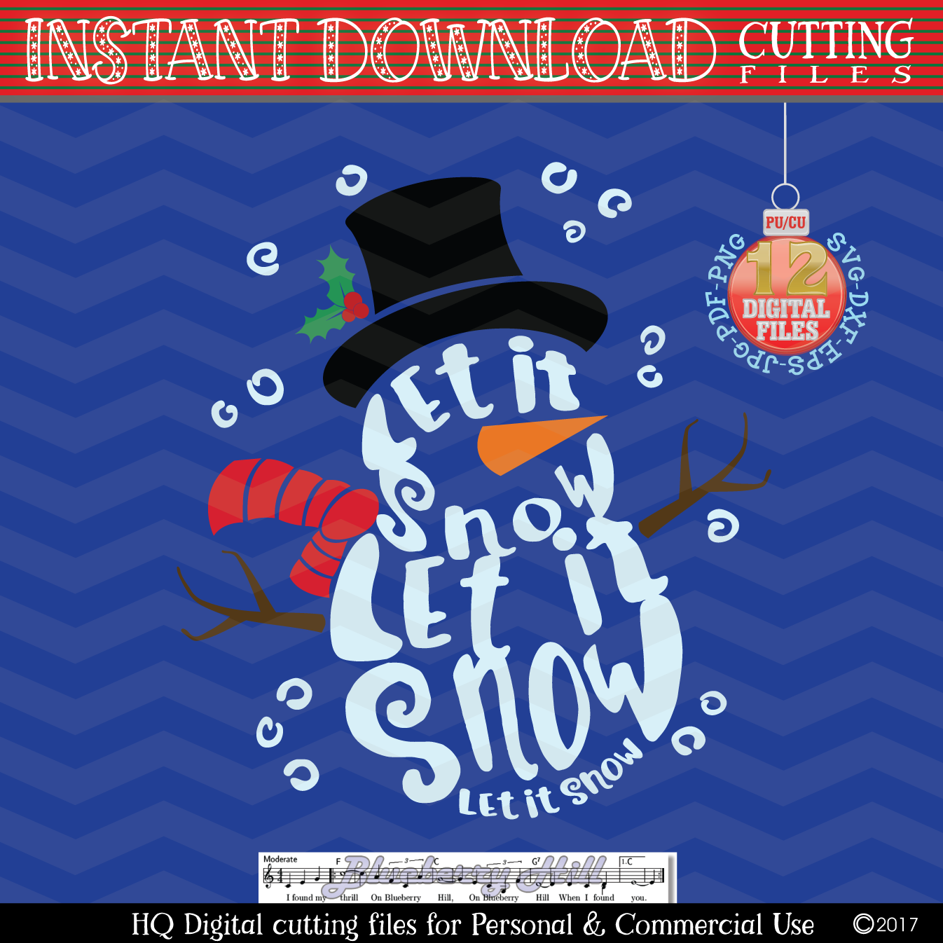 Snowman Svg - Let it snow Svg -2 in 1- Christmas SVG - Snow example image 3