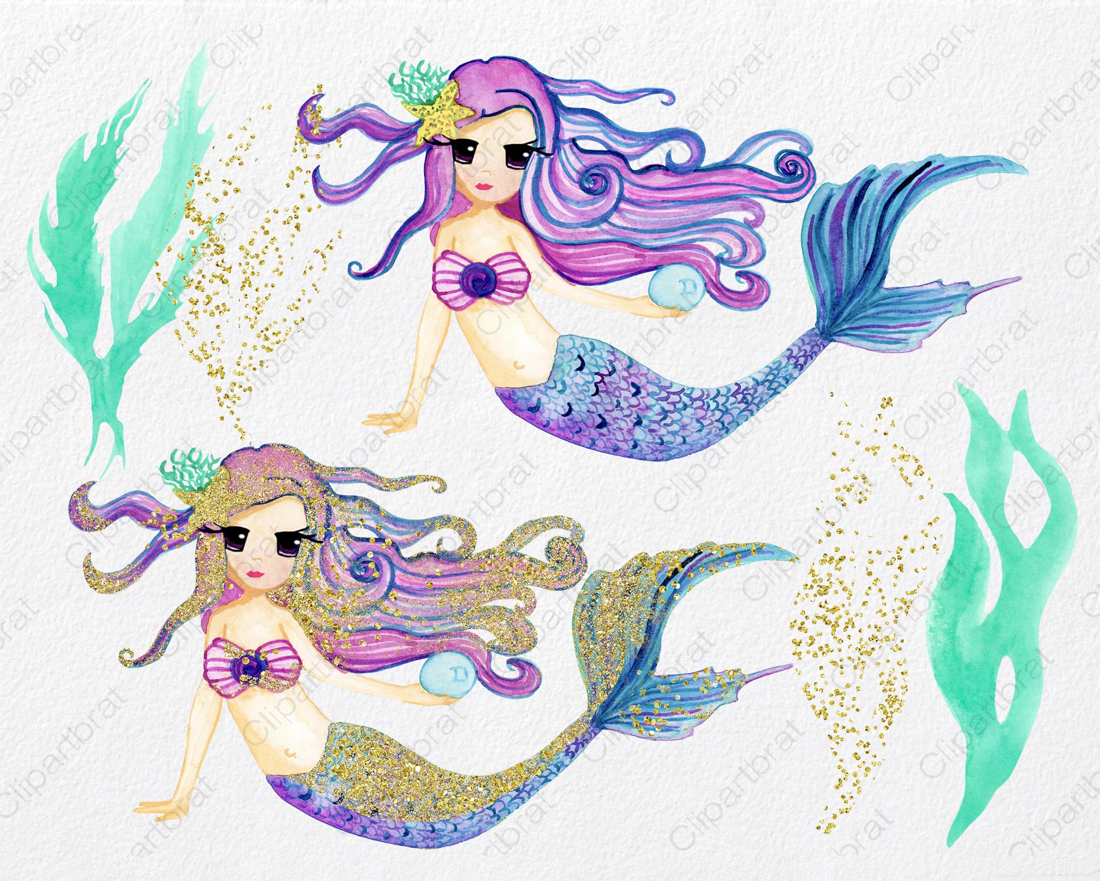 WATERCOLOR MERMAID Clipart  with Metallic Gold Confetti Mermaids Shells Starfish Ocean Watercolour Splash Graphics example image 5