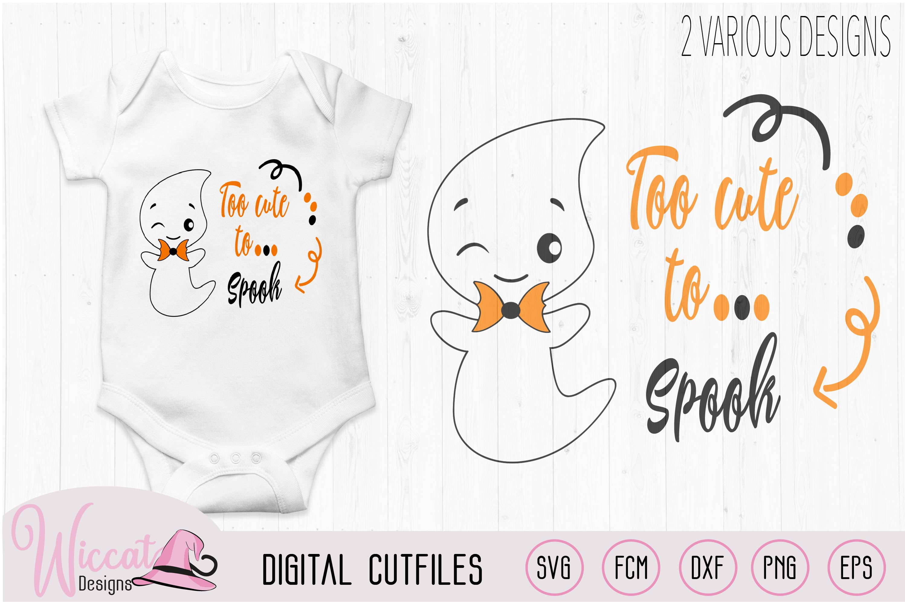 Too Cute to spook, Cute ghost quote example image 1