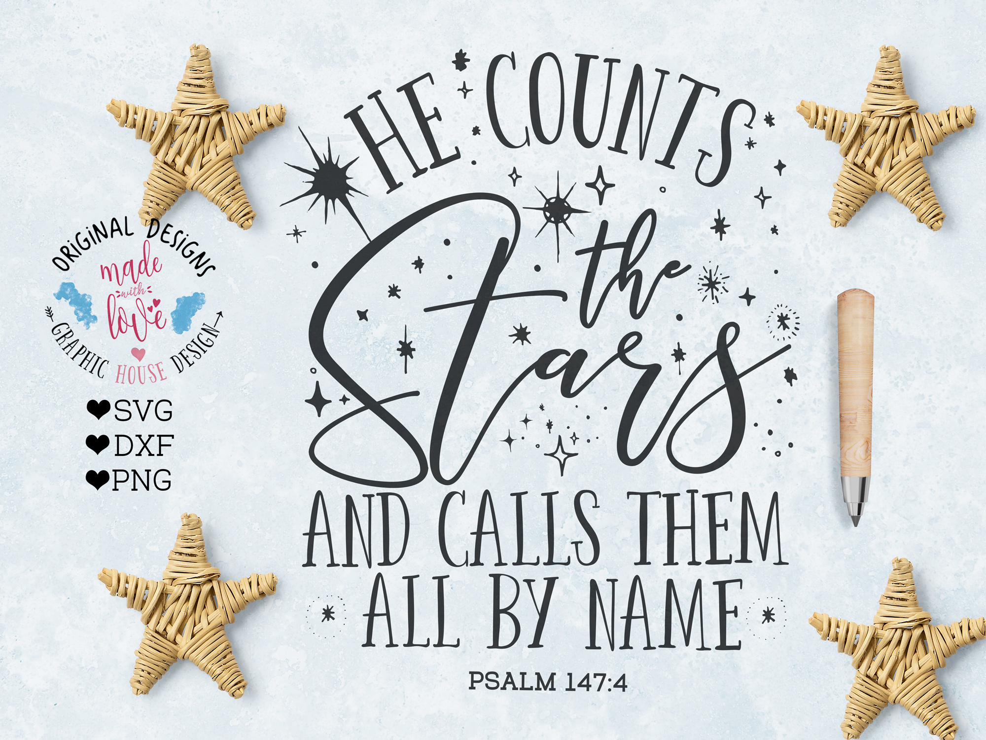 He counts the Stars and Calls Them All By Name Cutting File (SVG, DXF, PNG) example image 1