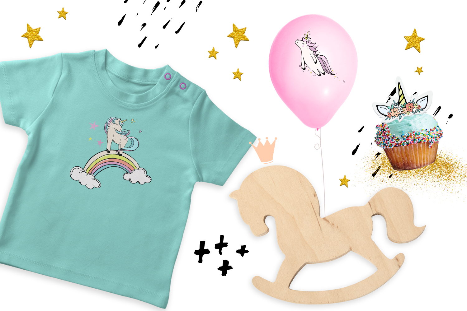 Follow the unicorn- clipart & lettering example image 7