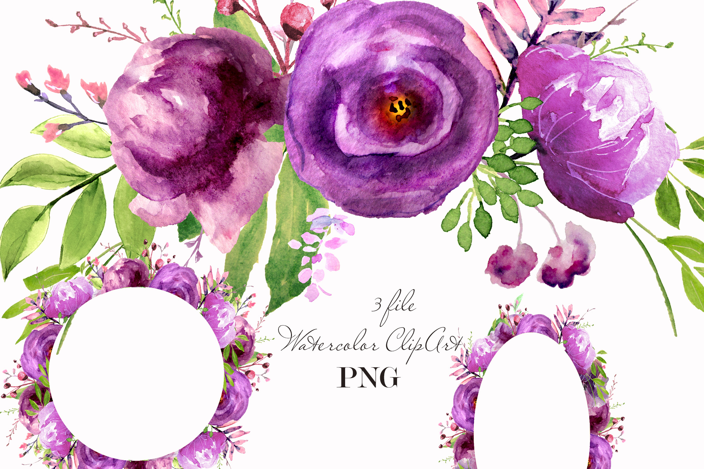 Purple Watercolor flowers clipart Wall art decor example image 1