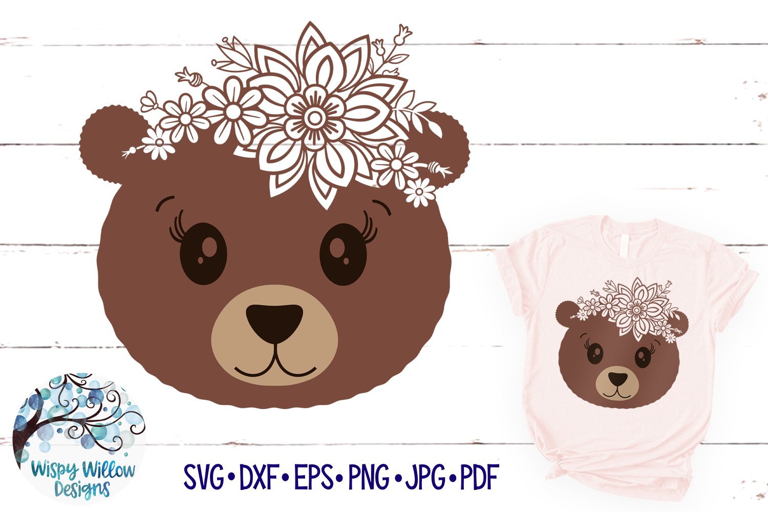 Floral Bear SVG | Cute Bear Face SVG Cut File example image 1