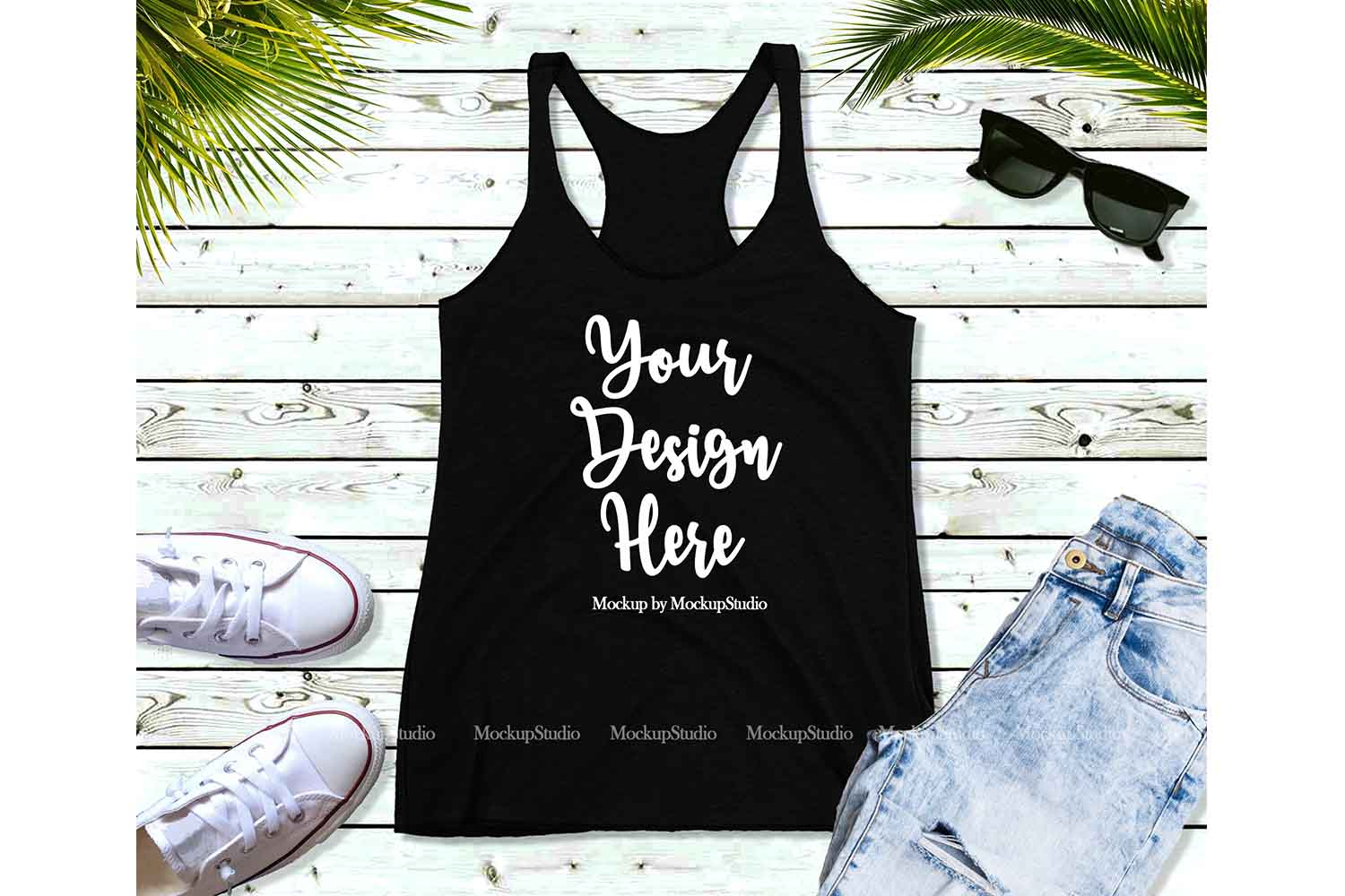 Black Tank Top Mockup, Tank Top Mock Up Flat Lay Display example image 1