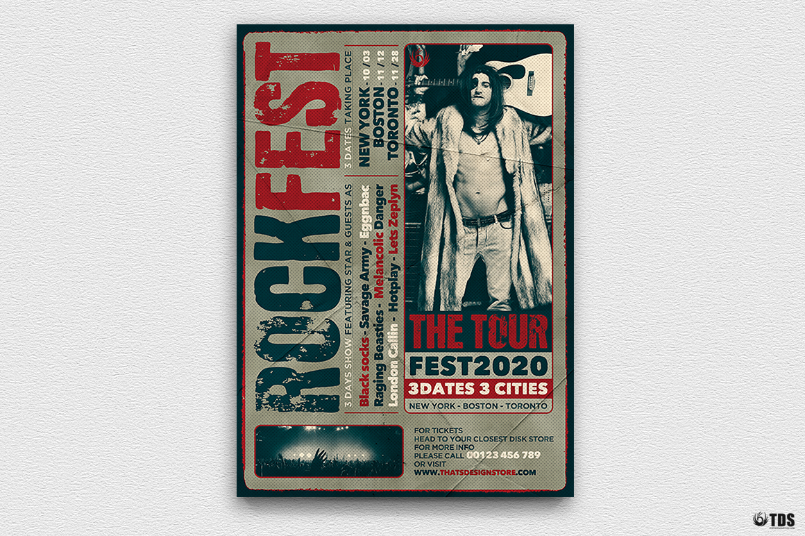 Distressed Rockfest Flyer Template example image 5