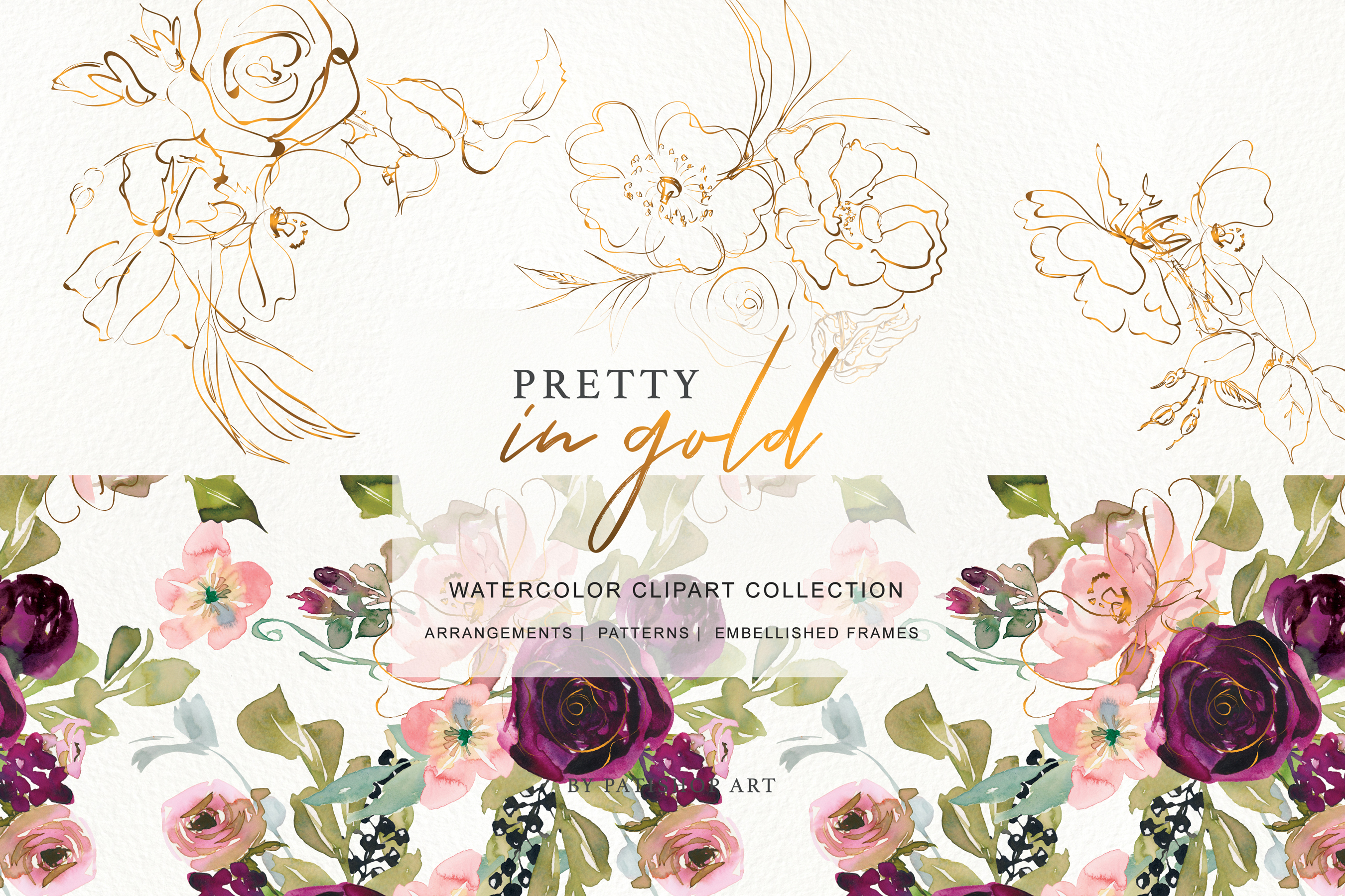 Watercolor Burgundy Blush and Gold Floral Bouquet Clipart example image 5