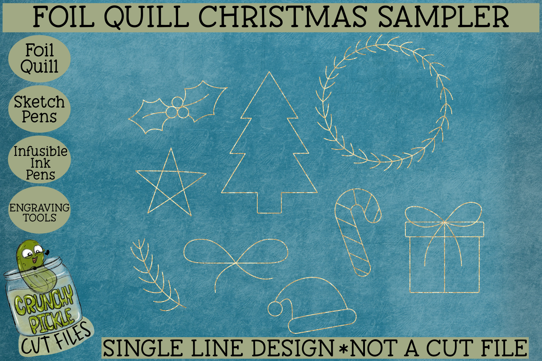 Foil Quill Christmas Sampler / Single Line Sketch SVG example image 1