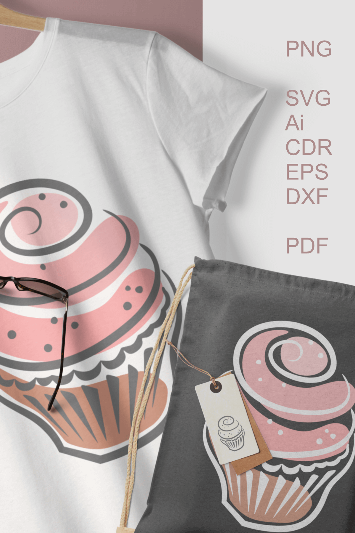 Cupcakes Clipart SVG PDF AI DXF for Crafts and Stationery example image 5