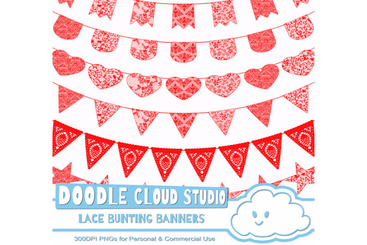 Red Lace Burlap Bunting Banners Cliparts, multiple lace texture flags, Transparent Background, Instant Download, Personal & Commercial Use example image 1