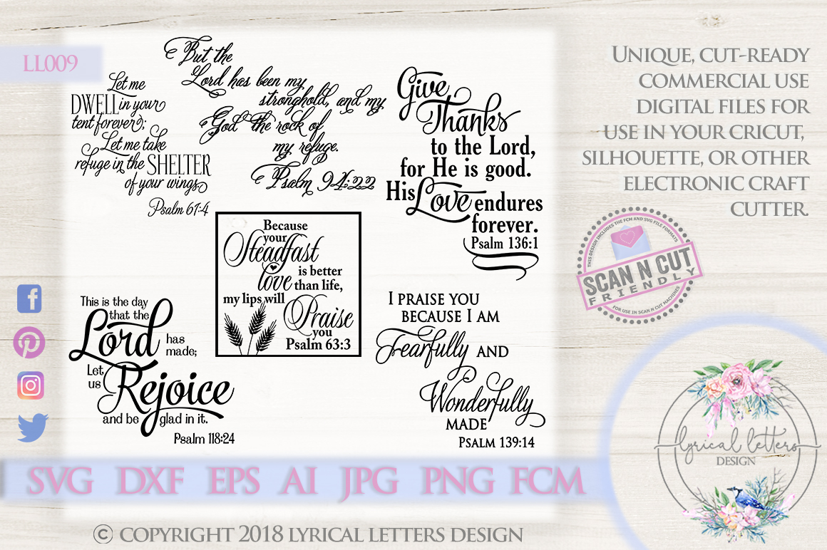 Psalm Scripture Bundle of 6 SVG DXF Cut Files LL009 example image 1