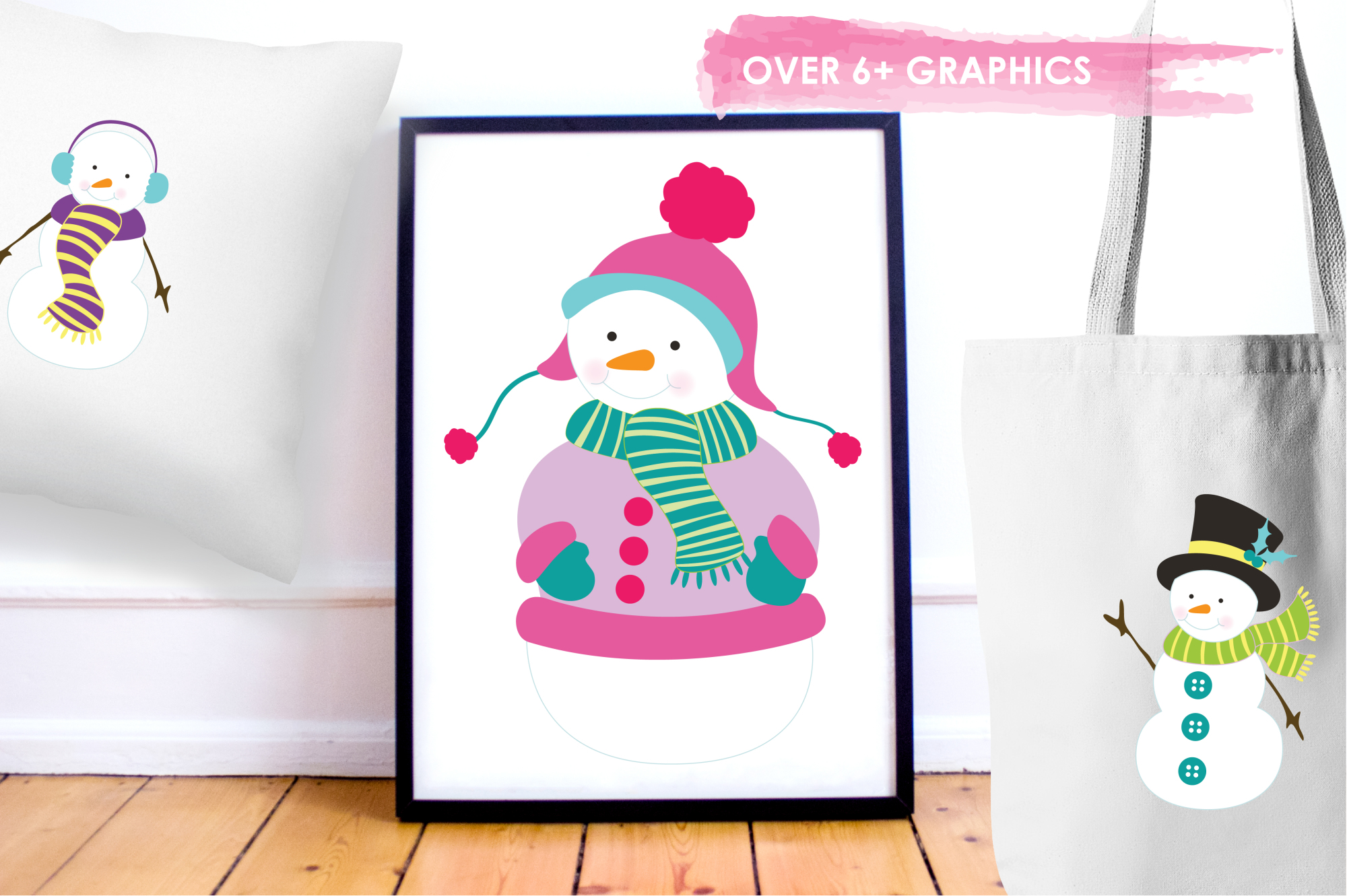 Colorful Snowmans graphics and illustrations example image 5