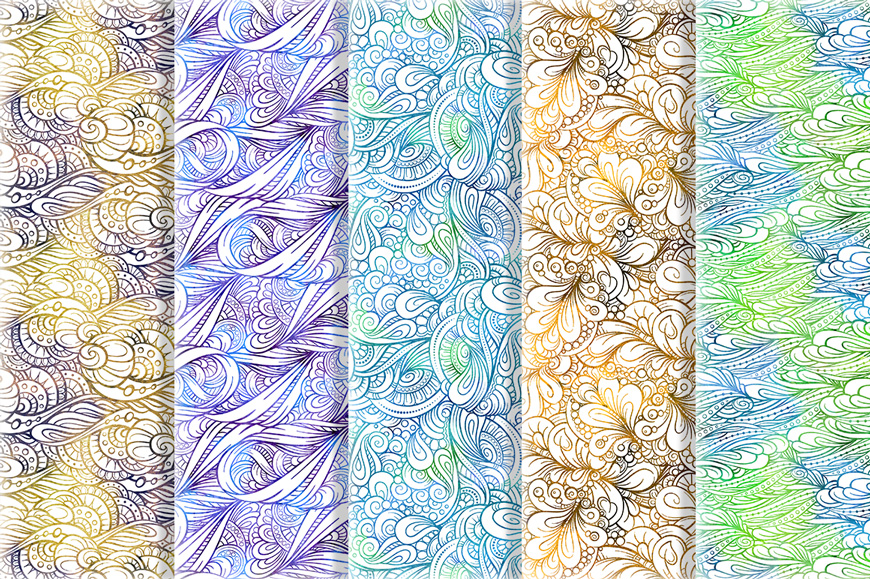 Fancy doodles seamless patterns set #1  example image 3