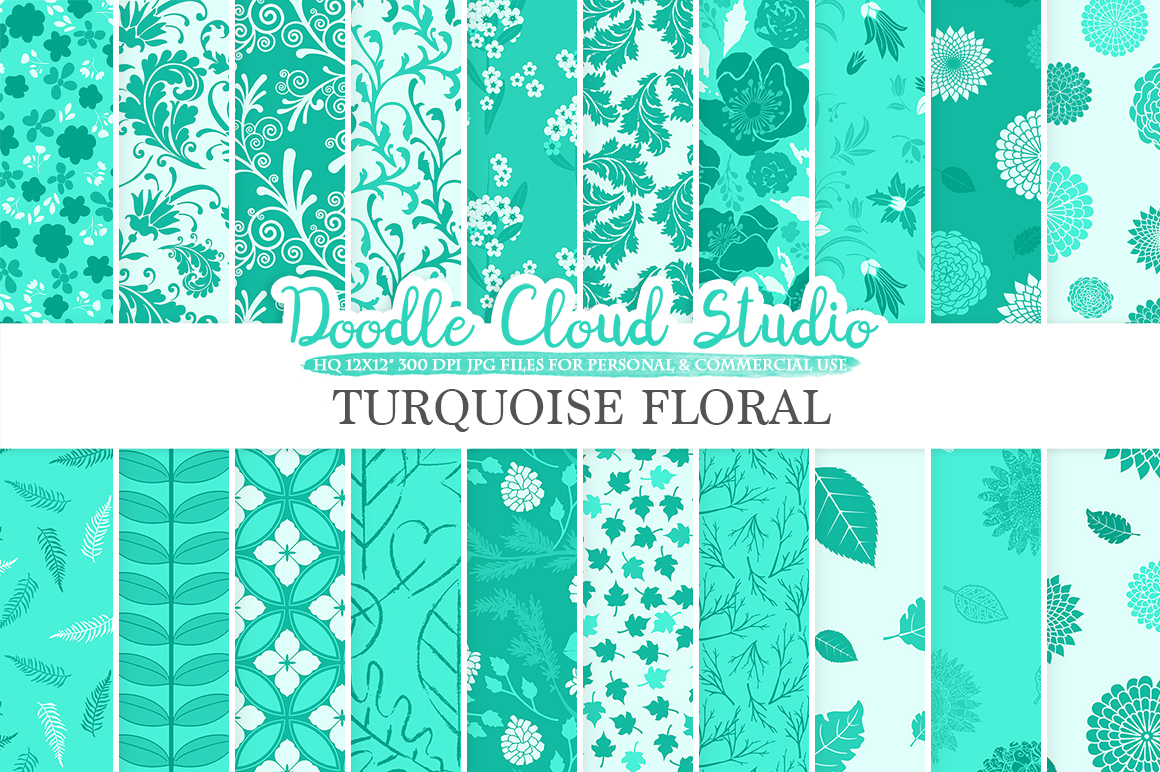 Aqua Floral digital paper Turquoise Floral pattern Flowers Dhalia Leaves Damask Calico background Instant Download Personal & Commercial Use example image 1