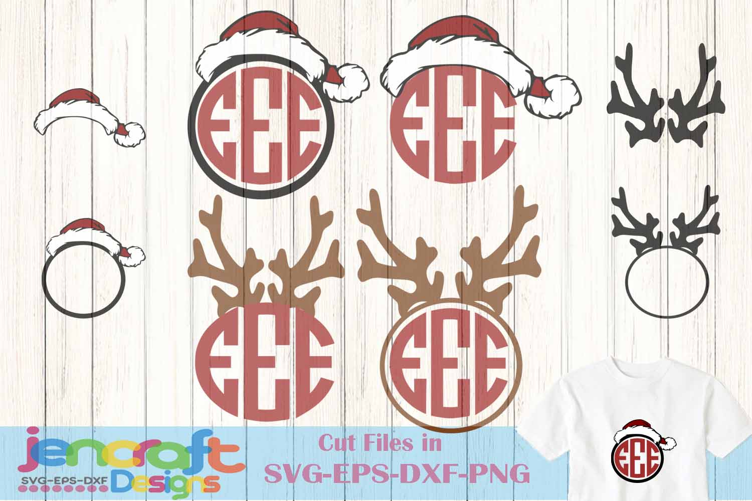 Antlers Bow Santa Hat monogram frame Deer SVG - Christmas example image 1