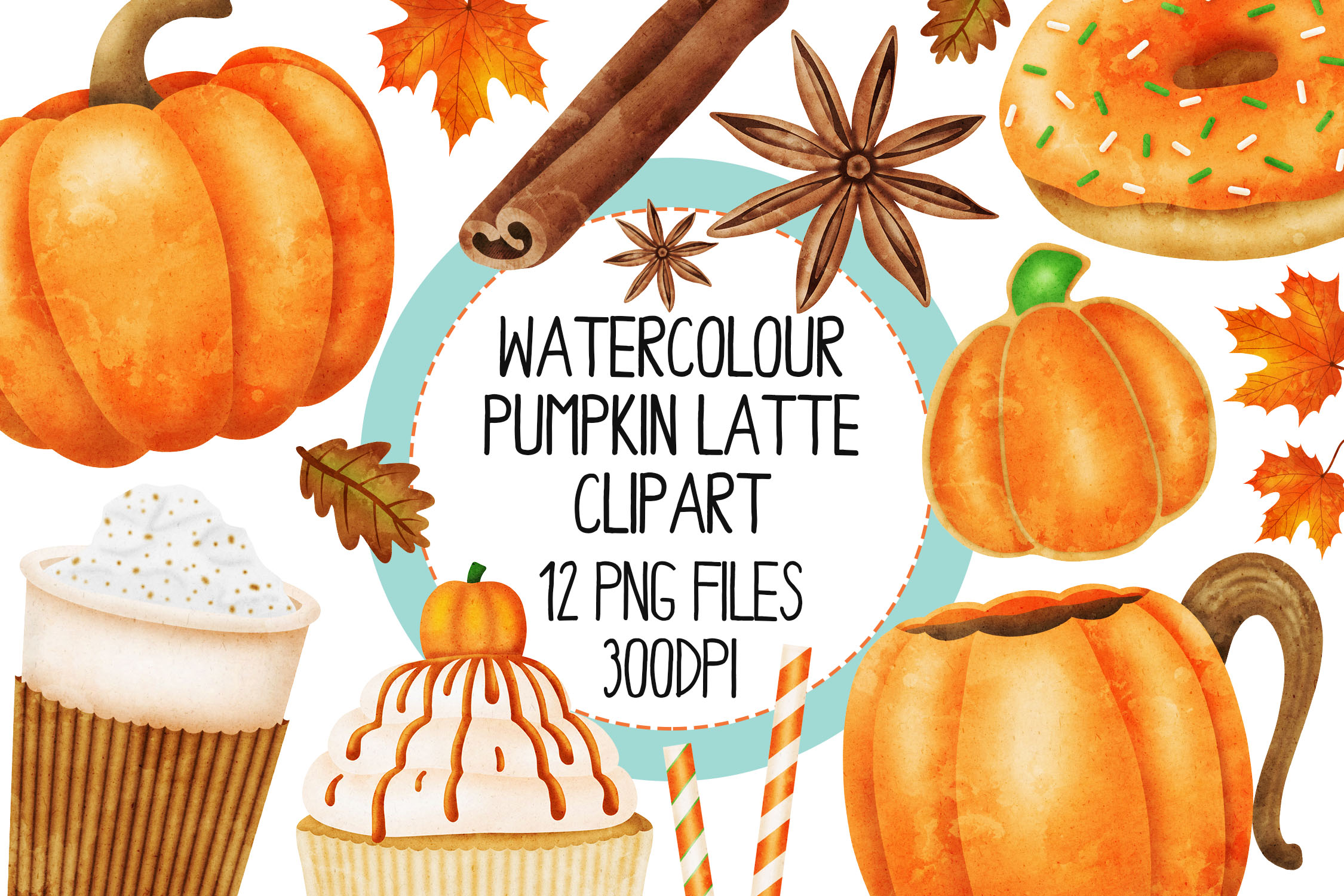 Watercolor Pumpkin Spice Clip Art Set 1 example image 1