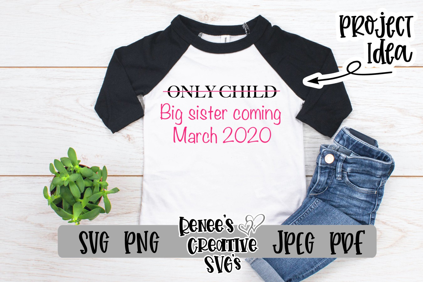 Only child, Big sister   SVG Cutting File example image 2