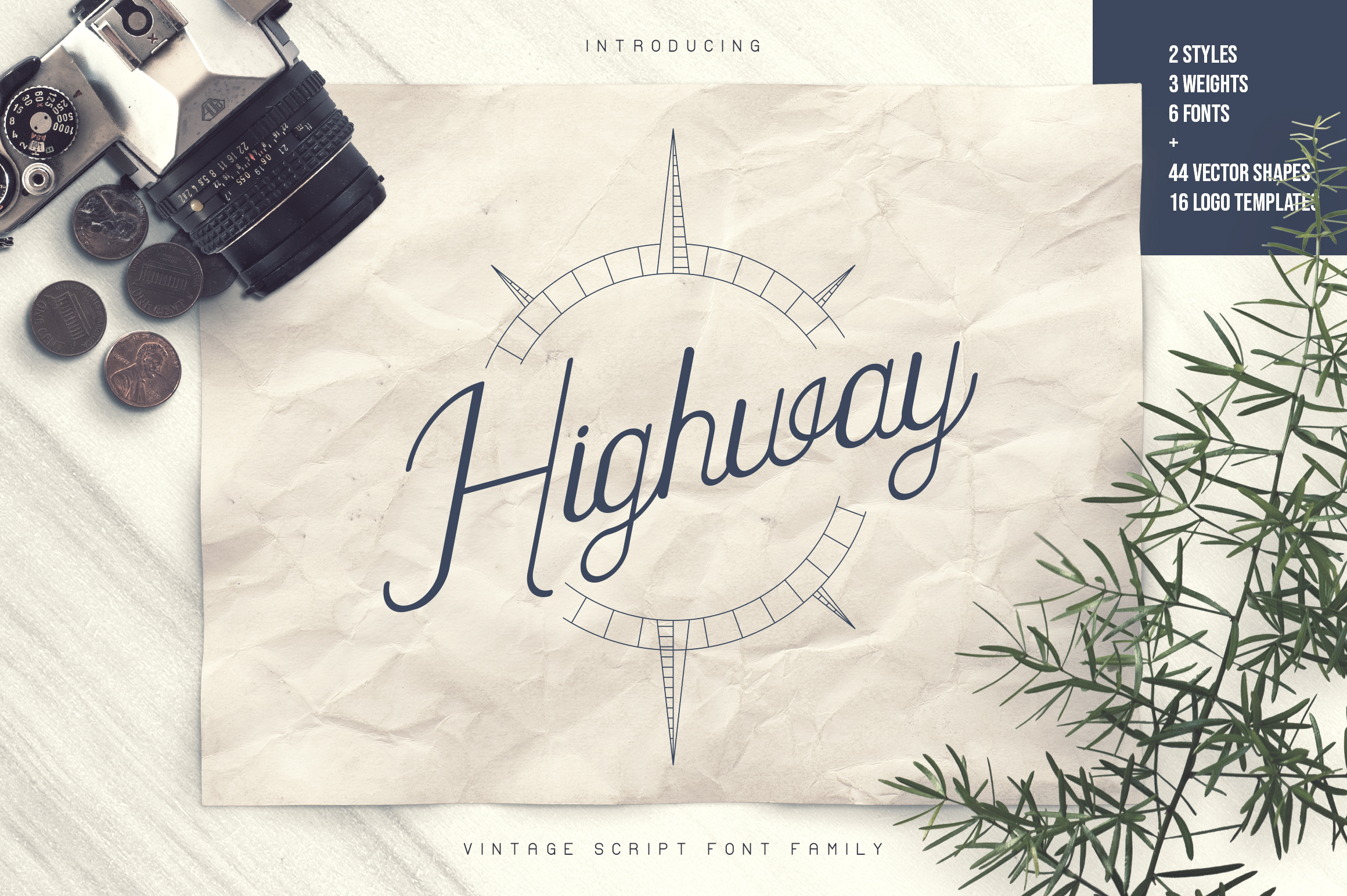 Highway - Vintage script font family with Extras example image 1