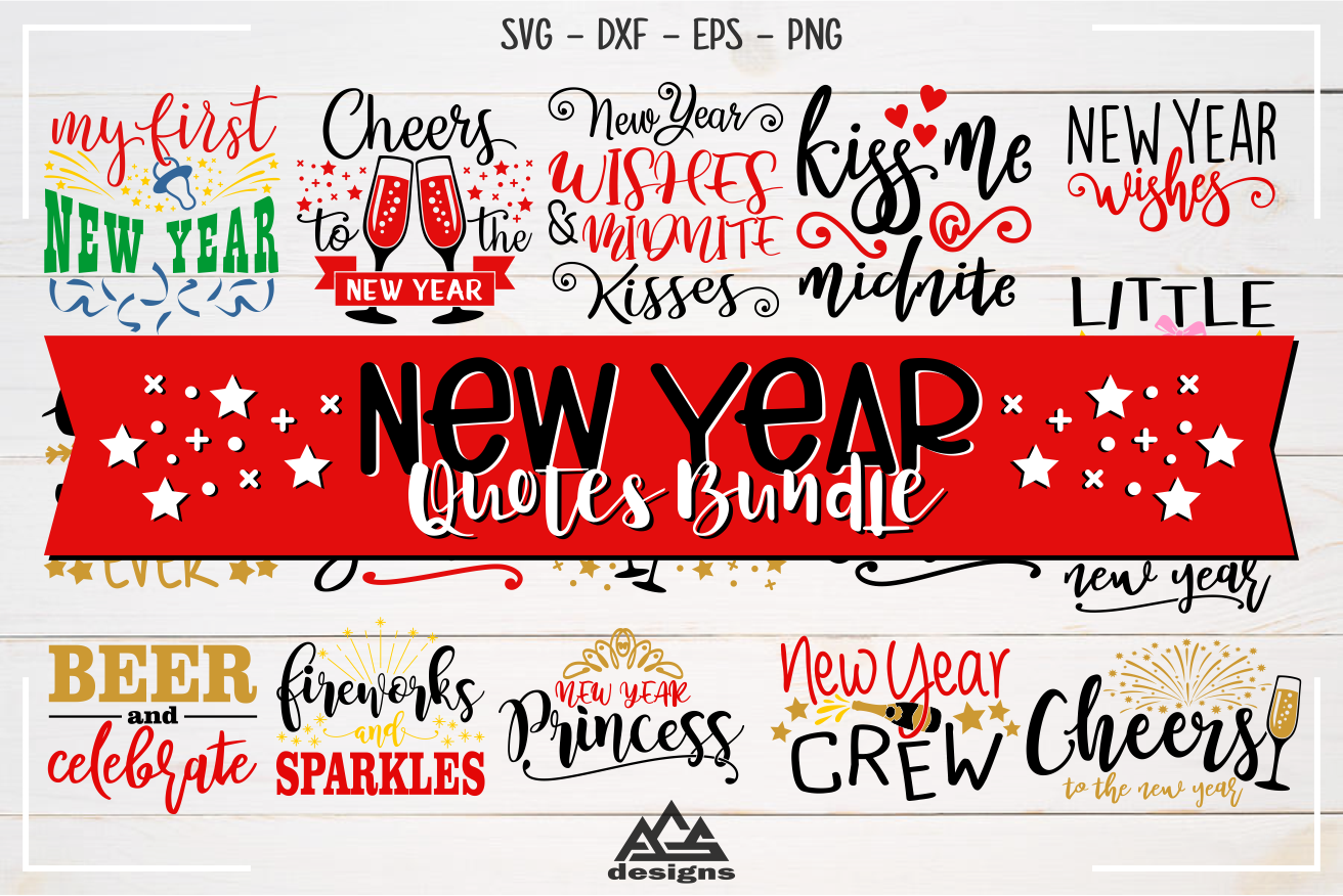 New Year Quotes Bundle Svg Design example image 1