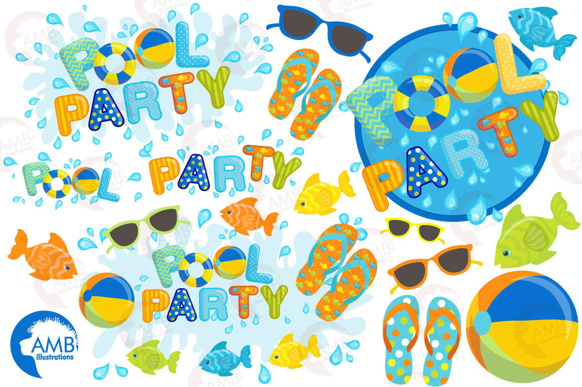 Pool party elements clipart, graphics pack AMB-1260 example image 5