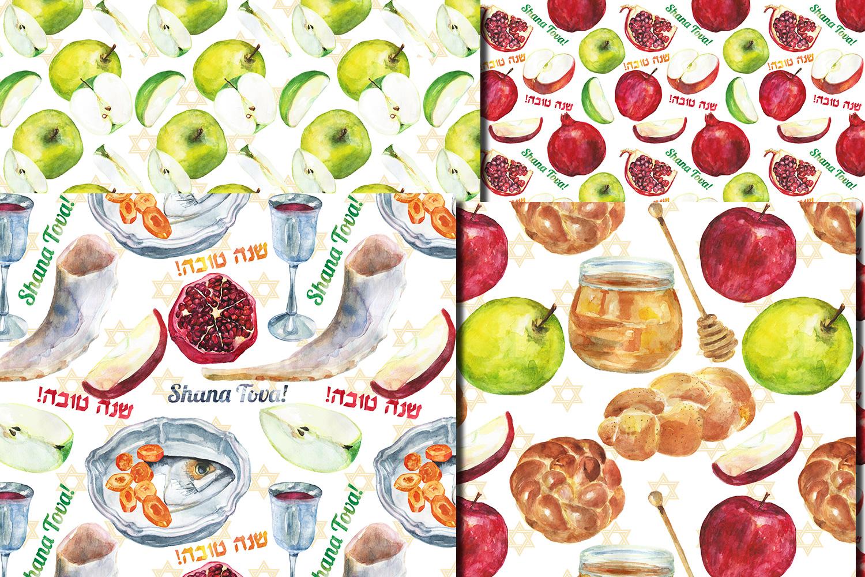 Watercolor Rosh Hashanah seamless digital paper pack example image 2