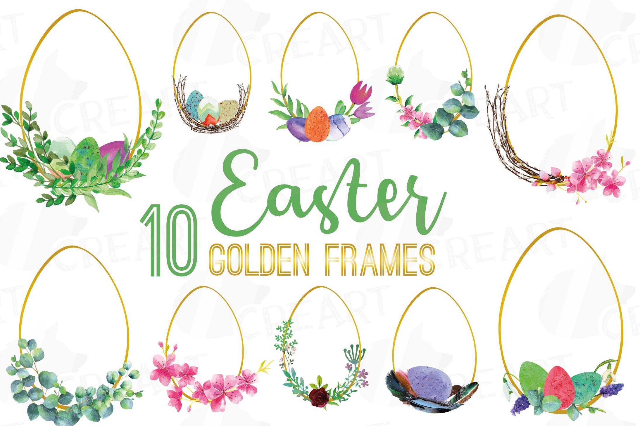Easter golden watercolor floral frames, floral frames example image 7