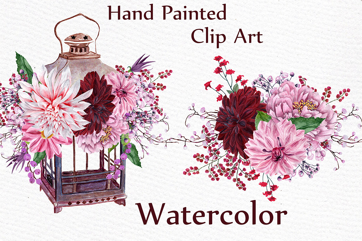 Watercolor wedding clipart example image 4