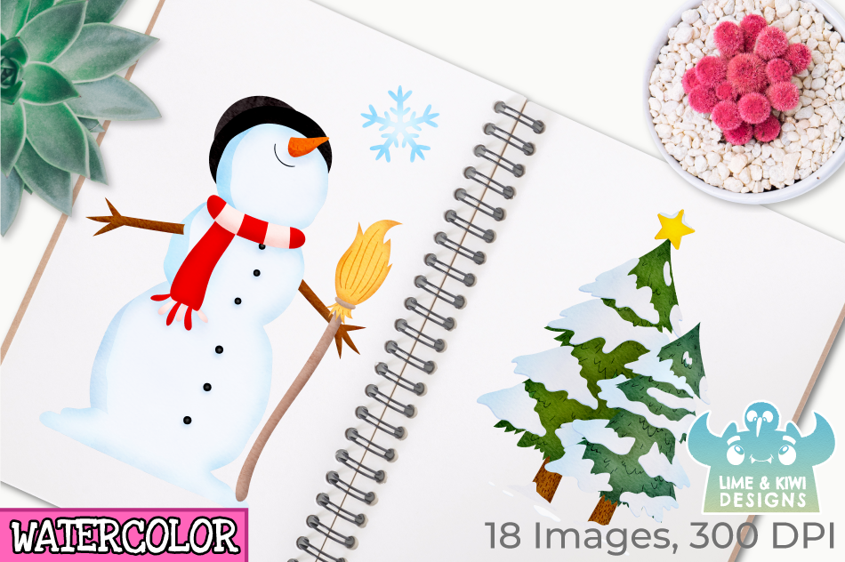Christmas Snowmen Watercolor Clipart, Instant Download example image 3