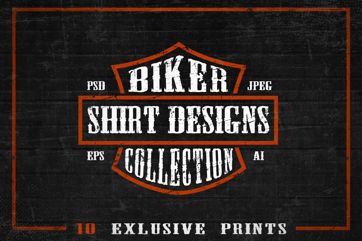Set of Bikers Shirt Designs. example image 1