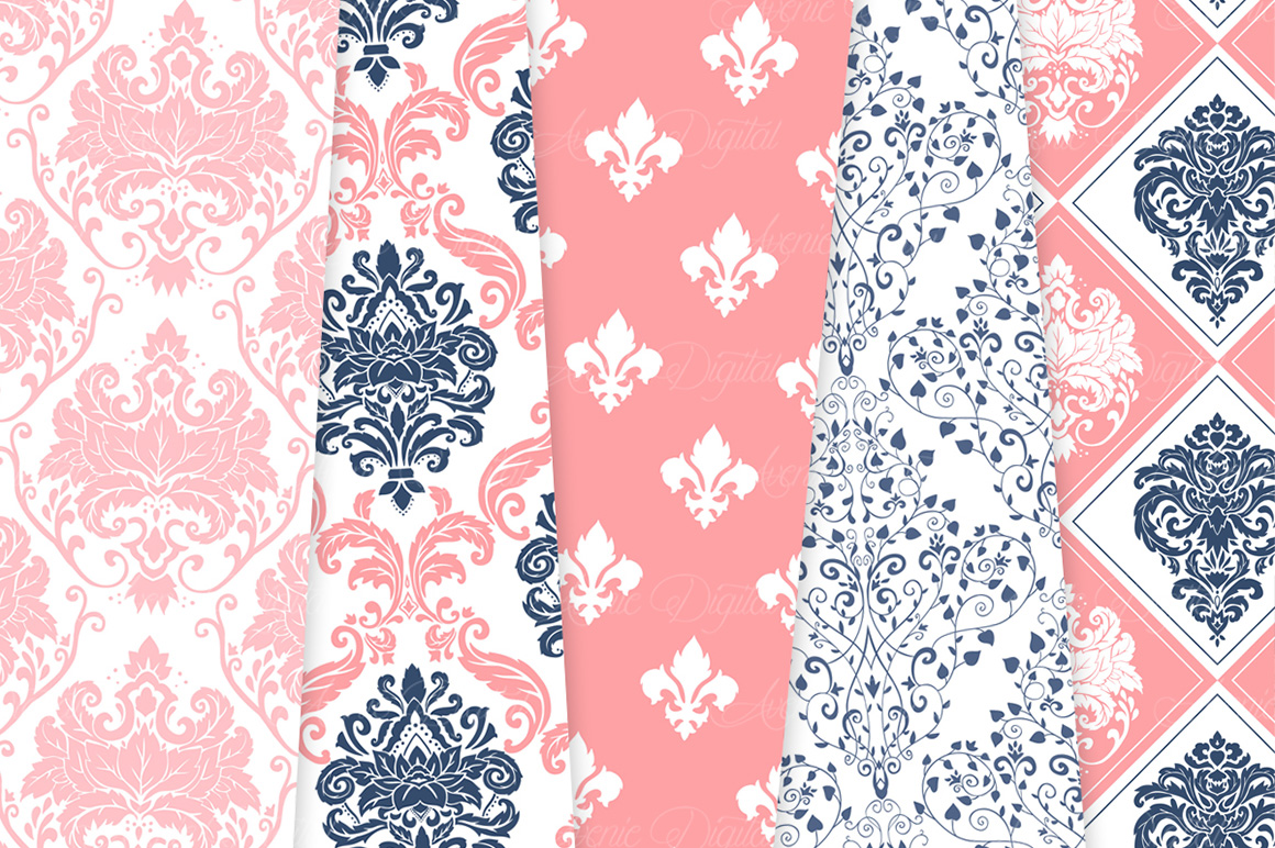 Coral and Navy Damask Patterns - Seamless Digital Papers example image 9