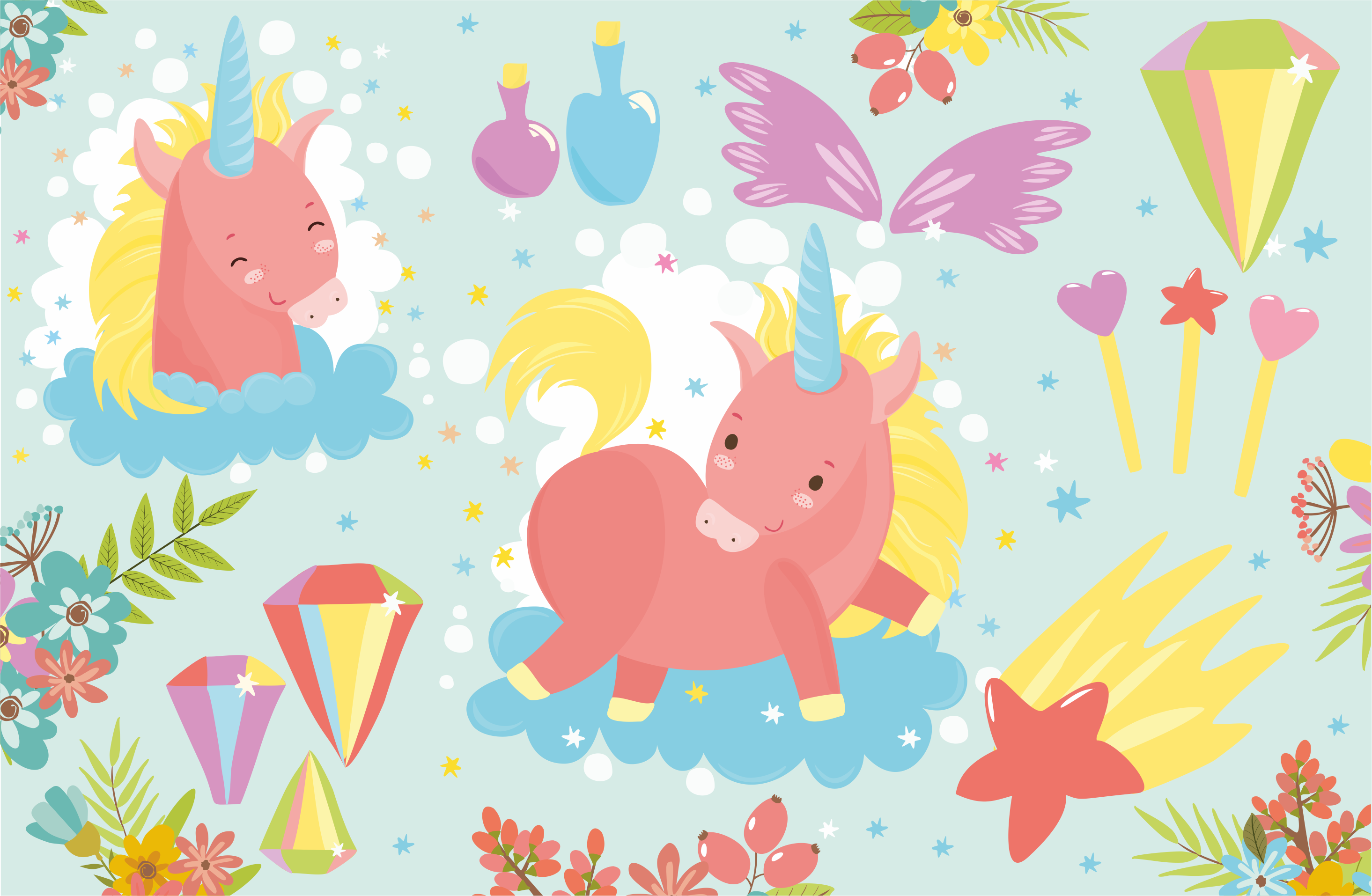 Magic Unicorns pattern and flowers example image 3