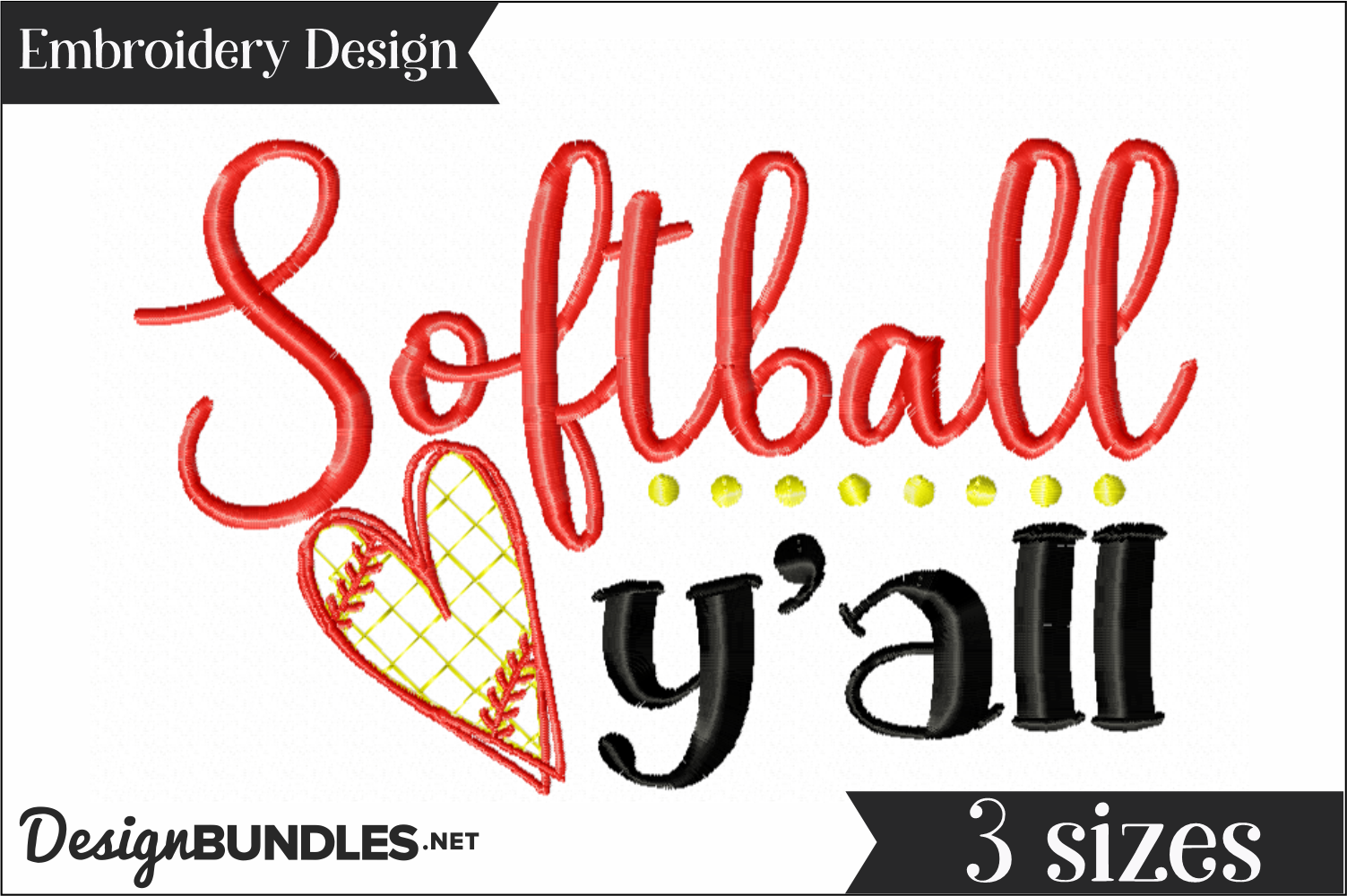 Softball Y'all Embroidery Design example image 1