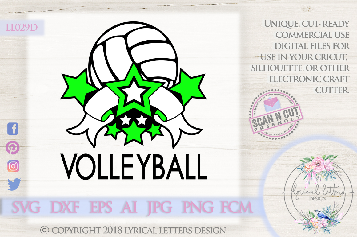 Volleyball Sports Banner with Stars SVG DXF FCM LL029D example image 1