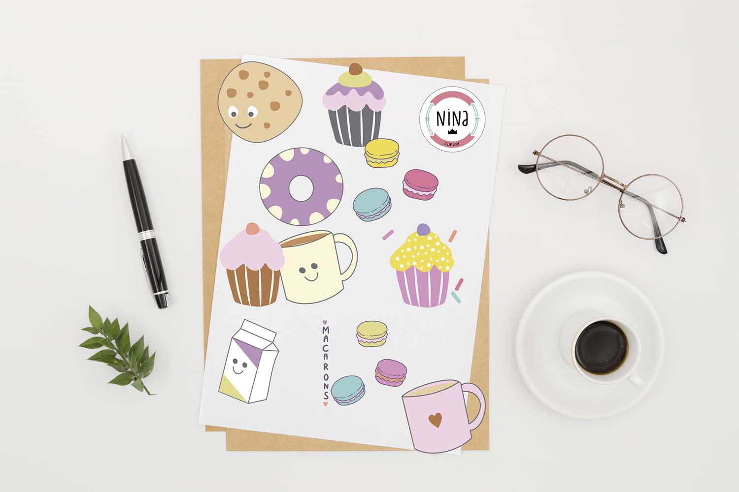 Sweet Bakery Clip Art, 10 PNG files, Cupcakes and macarons example image 2
