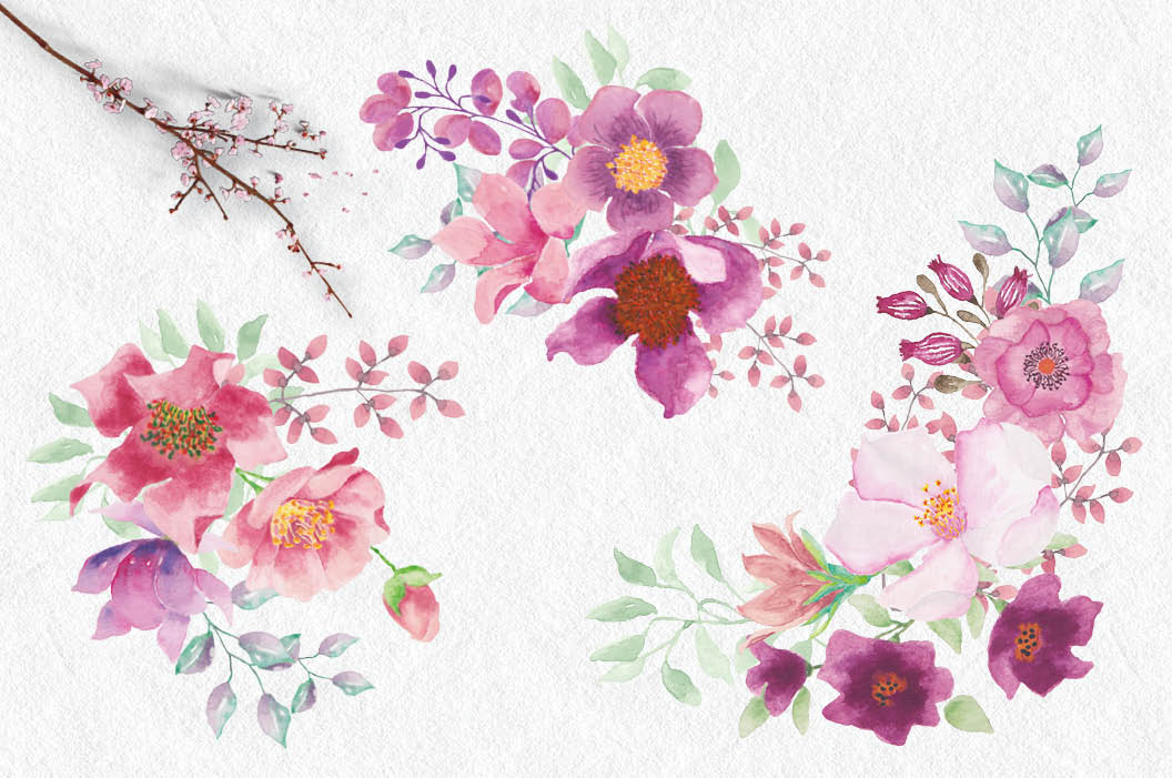 Watercolor wreath and sprays in pinky shades example image 4
